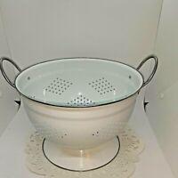 Colander Gray Graniteware Granite Ware Enamel Ware Strainer #8 Vintage
