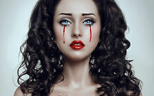 Framed Print - Red Lipped Gothic Woman Bleeding Tears (Picture Poster Blood Art)