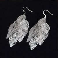 Ladies Girls 925 Sterling Silver Fashion Leaves Pendant Ear Hook Dangle Earrings