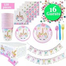 72X Einhorn Partyzubehör Kindergeburtstag Set Baby Shower Geschirr für 20 Gäste