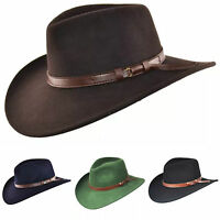 Men Women 100% Wool Crushable Felt Black, Navy, Brown Cowboy Hat