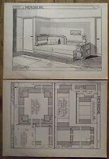 Planche de coupe,plan cosy corner,divan,1935,