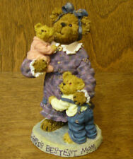 Boyds Bearstones #82526 Momma Caresalot w Scoots and Toots, Mib Mother's Day