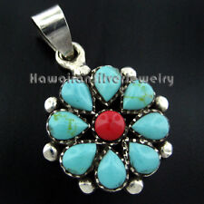 Sterling Silver Pendant TURQUOISE FLOWER Green Red