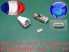 rj 45  Cat 6 et Cat7 + peigne et capuchon blanc fiches plug prise connecteur