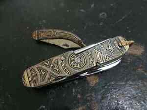 *ULTRA RARE* COUPLE OF ANTIQUE TOLEDO ESPANA SPAIN GOLD DAMASCENE POCKET KNIVES