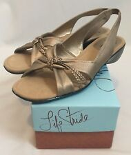 Life Stride 9M Miami Champagne GOLD Sling Back Open Toe Sandals New!