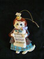 """Kurt S. Adler resin Caroling Kitty Cat Christmas Tree Ornament 4"""""""