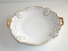 VISTA ALEGRE - White Serving Dish Trimmed in Gold With Gold Handles - Portugal
