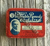 Sample Medicine Tin O'Neill's Vegetable Remedy Tablets stamped COMPLIMENTARY