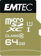 Microsdxc 64go EMTEC Adaptateur Cl10 Gold Uhs-i 85mb/s blister