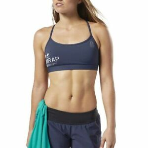New Reebok CrossFit Medium-Impact Bra Womens Top Navy DY8410 Size XXS