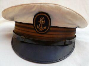 Casquette de Marine Commandant Bateau COMPAGNIE DES MESSAGERIES MARITIMES France