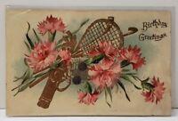 Birthday Greeting Gold Golded Golf LaCrosse Pretty Pink Flowers 1908 Postcard B8