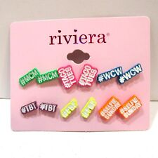 Hashtag Earrings 6 Pairs Colorful Studs WCW TBT MCM Taco Tues More Riviera NEW