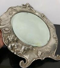 Antique Rare Hand Forged Art Nouveau Victorian Cherub Putti Pewter Vanity Mirror