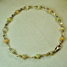 14k solid y/gold 4x3mm rondelle natural Ethopian fire Opal bracelet 7 1/2''