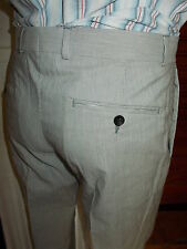 Pantalon habillé coton/lin gris rayé AZZARO W30 40FR comme neuf 16TS44