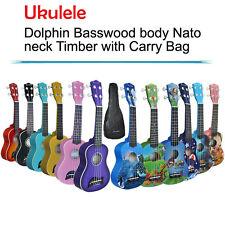 Soprano Ukulele Kids Guitar Basswood body Nato neck Timber with Carry Bag