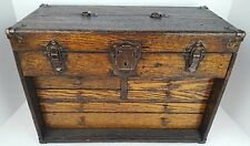 Antique Excelsior Oak Wood 6 Drawer Early Industrial Machinist Tool Chest Box