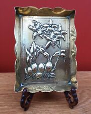 Victorian Brass Arts & Crafts Brass Dish Rd 92155 Decorated With Orchids