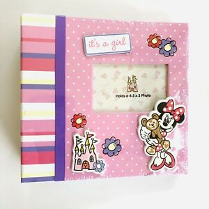 "New Minnie Mouse Photo Album ""It's A Girl"" Infant Baby Girl Pink Shower Gift"