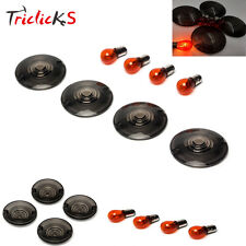 4x Turn Signals Light Smoke Lens Cover w/ 4 Bulbs For 1986-2015 Harley Softail
