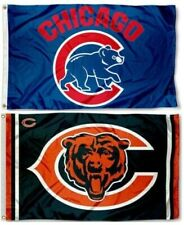 1 Chicago Bears Nfl & 1 Chicago Cubs Bear Mlb ~ 3'x5' Sports Flags Banners