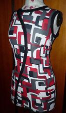 ROBE / tunique JUS D'ORANGE 38/40 imprimé géométrique rouge gris noir blanc