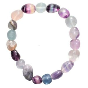 CHARGED Rainbow Fluorite Crystal Nugget Stretchy Bracelet + Selenite Puffy Heart