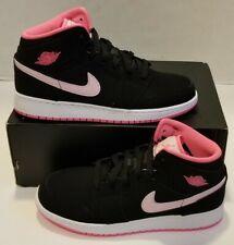 Nike Air Jordan Retro 1 Mid GS Black/Pink Youth SZ 7Y NEW 555112-066 NOLID
