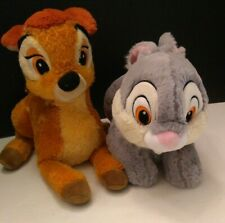 Authentic Disney Store X2 LOT BAMBI DEER + THUMPER BUNNY RABBIT PLUSH SET