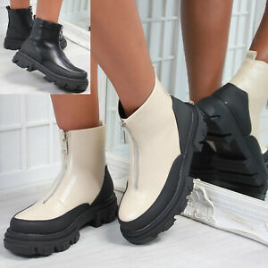 New Womens Ladies Front Zip Chunky Sole Ankle Boot Shoes Sizes 3-8