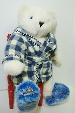 Vermont Teddy Bear Jointed White Blue Eyes Flannel Robe & Slippers 15""