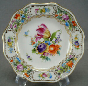 Carl Thieme Dresden Hand Painted Reticulated Floral & Gold Bread Plate P