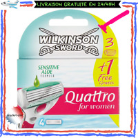 Pack De 4 Wilkinson Quattro For Women Lames De Rasoir Pour Femme Tête Mobile