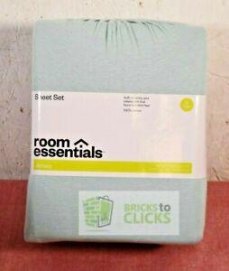 Room Essentials- Jersey Sheet Set Solids, Aqua, Twin XL