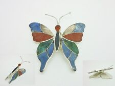Stunning Vintage 950 Solid Silver Inlaid Gemstone Butterfly Articulated Brooch