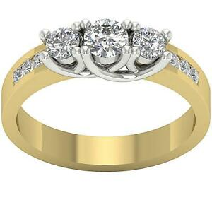 Three Stone Engagement Ring 0.65 Carat I1 G Round Cut Diamond 14K Two-Tone Gold