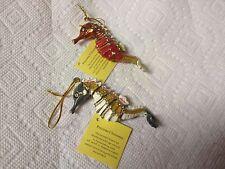 Precioous Cloisonne Lot Of 2 Seahorse Ornaments Enamel W/Austrian Crystal