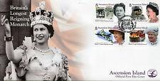 ISOLA di ascensione 2015 FDC Regina Elisabetta II più lungo che regnava 4v Copertura FRANCOBOLLI