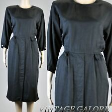 Vintage 70s 80s Black long sleeve Rayon Katie Secretary Wiggle pencil Dress Sz L