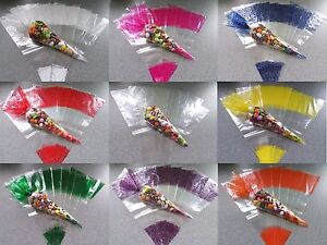 Cello Cone Bags - Large Party Bags - 9 Colours To Choose From - Sweet Bags Gifts