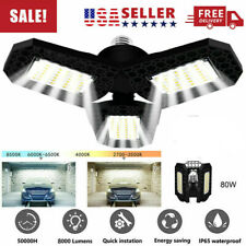 E27 80W Deformable Led Garage Light Bulb Fixture Ceiling Workshop Lamp Usa