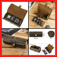 Watch Roll Display Box Leather Travel Case Wrist Watches 3 Slot Storage Pouch