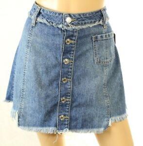 Guess Women's Blue Denim Skirt Frayed A-Line Size 28 Retail