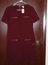 J Crew Factory zipper ponte dress, item A9107, burgundy, size 4