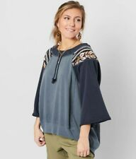 New! Free People We the Free Rosalie Pullover! Size Large! Blue!