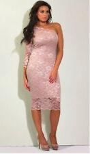Jessica Wright Encaje Al cuerpo Vestido Rosa Desnudo 12 carreras de boda con un hombro de verano