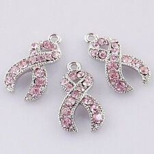 18KGP Crystal Rhinestone Pink Ribbon Charms Breast Cancer Awareness 20PCS